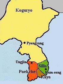 Carte de la Corée au temps de Silla